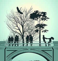 bridge people vector image
