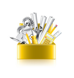 engineer tools box isolate vector image vector image