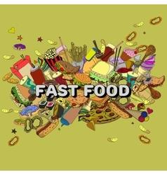 Fast food design line art vector image