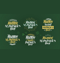 happy st patricks day label set irish holiday vector image