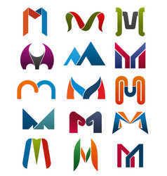 m letter icons template company brand name vector image