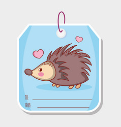 porcupine cute animal label tag vector image