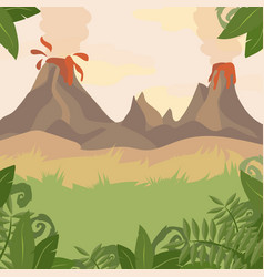 A forest landscape with volcano and jungle plants vector