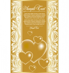 abstract card with gold hearts vector image