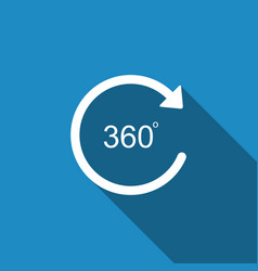 angle 360 degrees icon isolated with long shadow vector image