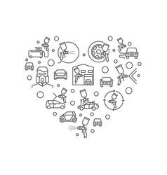 Auto body painting heart shape outline vector