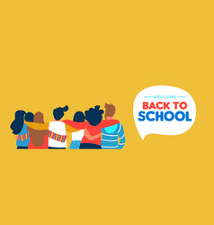 Back to school diverse student friend group banner vector