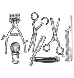 barber tools engraving vector image