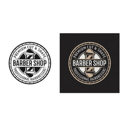 barbershop badge emblem with barber pole vector image
