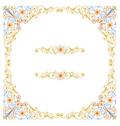 beautiful and elegant flowers frame greeting vector image