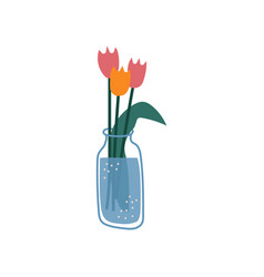 beautiful tulips flowers in glass bottle spring vector image
