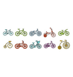 bike icon set color outline style vector image