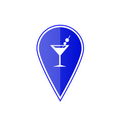 blue map pointer with cocktail location vector image