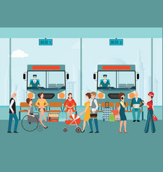 Bus terminal with bus limousine with people vector
