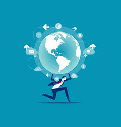 business person holding globe concept people and vector image