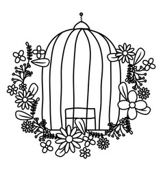 Cage bird jail with floral decoration vector