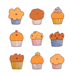 cartoon cupcakes and muffins characters set vector image