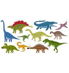 Cartoon dinosaurs ankylosaurus brontosaurus vector