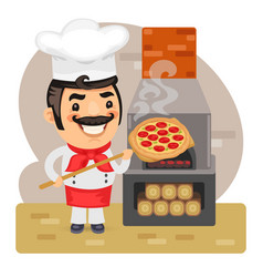 cartoon pizza chef vector image