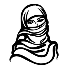 Cartoon sketch of Muslim girl vector