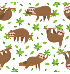 Cartoon sloth seamless pattern cute sloths on vector