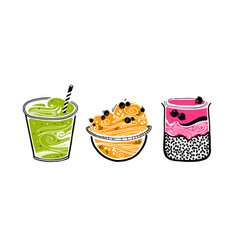 Chia pudding granola smoothie in doodle style vector