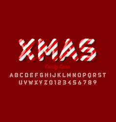 christmas candy cane font alphabet letters and vector image