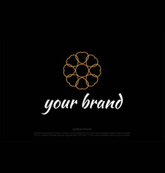 circle elegant golden luxury flower line pattern vector image