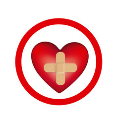 Circular frame with heart band aid in cross form vector