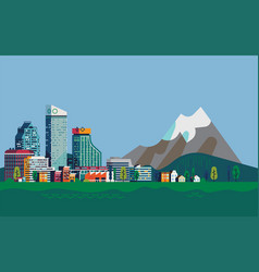 city and mountains landscape vector image