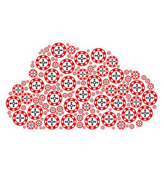 cloud figure of roulette casino chip icons vector image