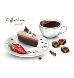 Coffee cup and sweet cake slice realistic vector