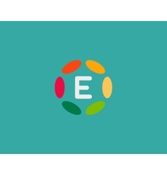 Color letter E logo icon design Hub frame vector image