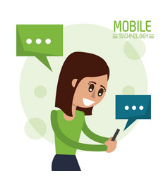Color poster of mobile technology with woman half vector