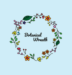 Colorful and simple floral wreath design vector