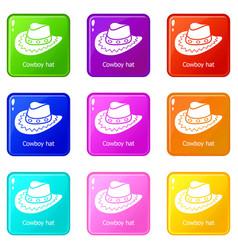 Cowboy hat icons set 9 color collection vector