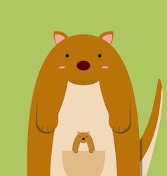 cute fat big kangaroo with baby vector image