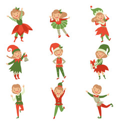 Cute playful boys and girls in elf costumes vector