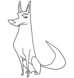 dog sitting line art vector image