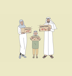 Donation for muslim families concept vector