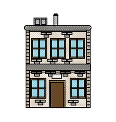 drawing house two sotry windows chimney image vector image