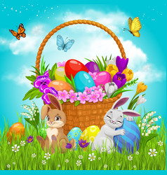 Easter basket with flowers painted eggs bunnies vector