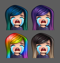 Emotion icons crying female vector