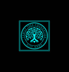 Family tree life stamp seal emblem oak banyan vector