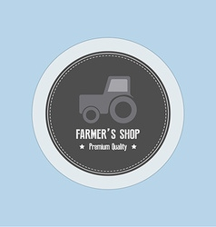 Farmer label vector image