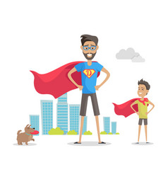 Father and adorable son superheroes fatherhood vector