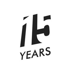 fifteen years emblem template anniversary vector image