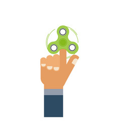 Flat hand with green hand spinner icon isolated vector
