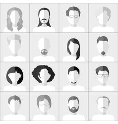 Flat people icons Set of stylish monochrome vector