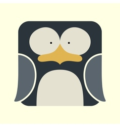 Flat square icon of a cute penguin vector image